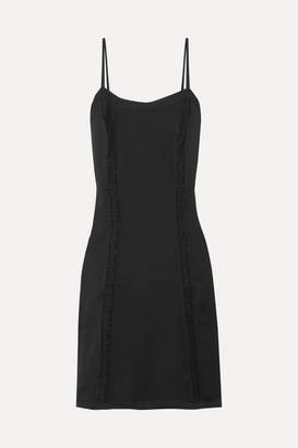Prada Lace-paneled Silk Dress - Black