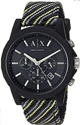 Armani Exchange Men's Black and Yellow Fabric Watch AX1334