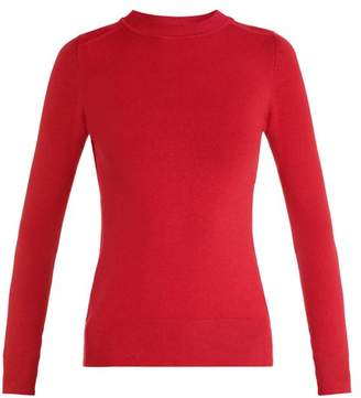 Joostricot - Crew Neck Long Sleeved Cotton Blend Knit Sweater - Womens - Dark Red