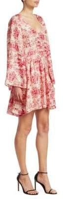 Elizabeth and James Aga Toile Floral-Print Silk A-Line Dress