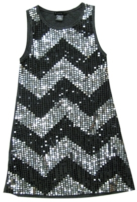 **SALE**Flowers By Zoe - Kid's Grey Sequin Chevron Tank Dress
