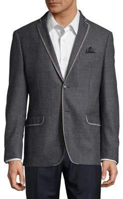 Tallia Orange Slim-Fit Melange Wool Herringbone Sport Jacket