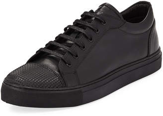 Jared Lang Leather Low-Top Sneaker with Stud-Textured Toe, Black