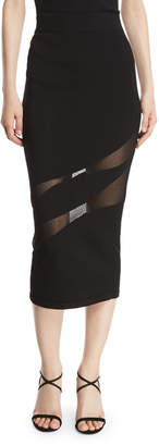 Cushnie et Ochs Knit Fitted Pencil Skirt w/ Sheer Panels