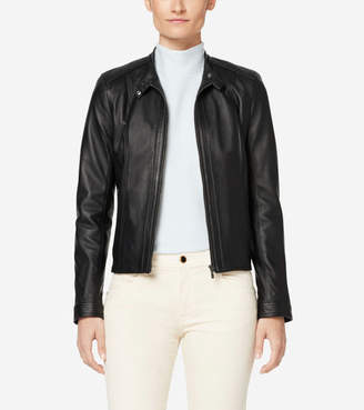 Cole Haan Italian Leather Modern Racer Jacket