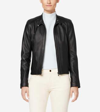 Cole Haan Italian Leather Modern Racer Jacket