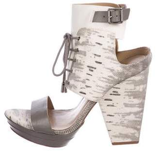 BCBGMAXAZRIA Embossed Lace-Up Sandals