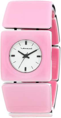 """Vestal Women's RWS3A01""""Rosewood"""" Stainless steel watch with Pink Wood Bracelet"""