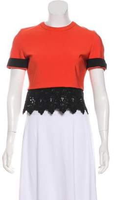 Thierry Mugler Lace-Trimmed Crop Top