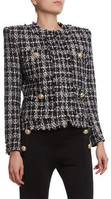 Balmain Metallic-Flecked Tweed 4-Pocket Jacket