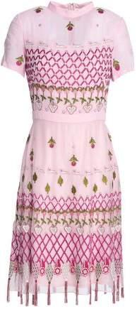 Horizon Embroidered Chiffon And Organza Mini Dress
