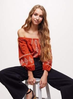 Miss Selfridge Rust embroidered bardot top