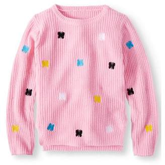 Pink Angel Embroidered Butterfly Pullover Sweater (Little Girls & Big Girls)