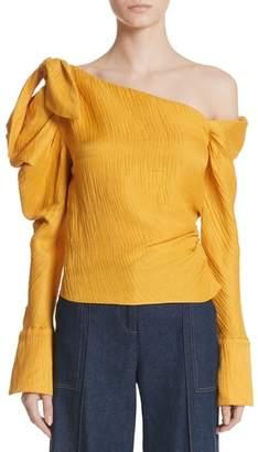 Hellessy Phacelia Asymmetrical Silk & Linen Bow Sleeve Top