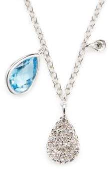 Meira T Blue Sapphire, Diamond and 14K White Gold Pendant Necklace