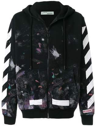 Off-White zip-up patterned hoodie