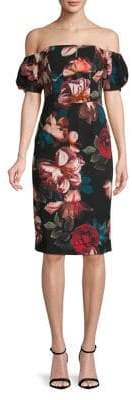 Black Halo Arden Off-Shoulder Flower Dress
