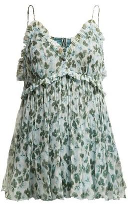 Lee Mathews - Nina Floral Print Silk Cami Top - Womens - Green Multi