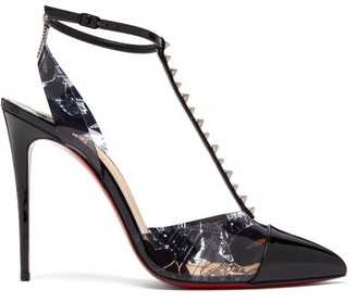 Christian Louboutin Nosy Spikes 100 Graffiti Print Leather Pumps - Womens - Black