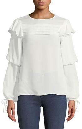 Parker Finch Long-Sleeve Silk Blouse with Pleating & Ruffles