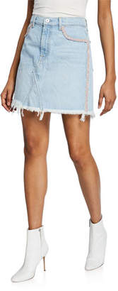 7 For All Mankind Frayed Denim Short Skirt with Fringe