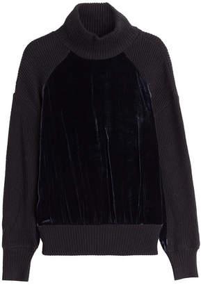 DKNY Merino Wool Pullover with Velvet