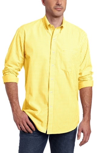 Izod Men's Long Sleeve Gingham Button Down