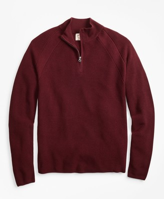 Brooks Brothers Half-Zip Merino Wool Ribbed Sweater