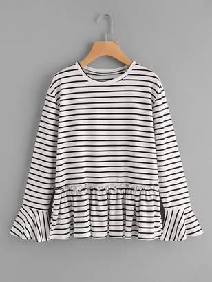 Shein Flute Sleeve Frill Hem Striped Tshirt