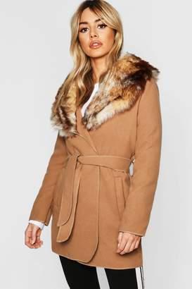 boohoo Petite Faux Fur Collar Belted Wool Look Coat
