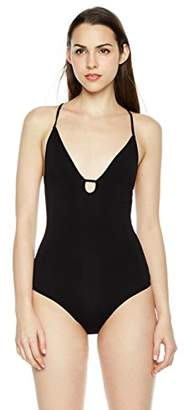 Plumberry Women's Deep V-Neck Cami Tops Spaghetti Strap Snap Crotch Thong Leotard Bodycon Bodysuit ...