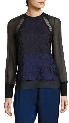 3.1 Phillip Lim3.1 Phillip Lim Colorblock Silk & Lace Top
