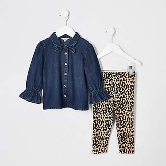 River Island Mini girls denim shirt and legging outfit
