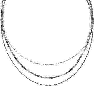 """Sterling & Ruthenium-Plated Beaded 18-1/4"""" Necklace"""