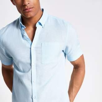 River Island Mens Light Blue linen short sleeve shirt