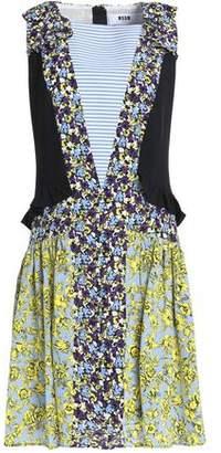 MSGM Ruffled Printed Silk Crepe De Chine Mini Dress