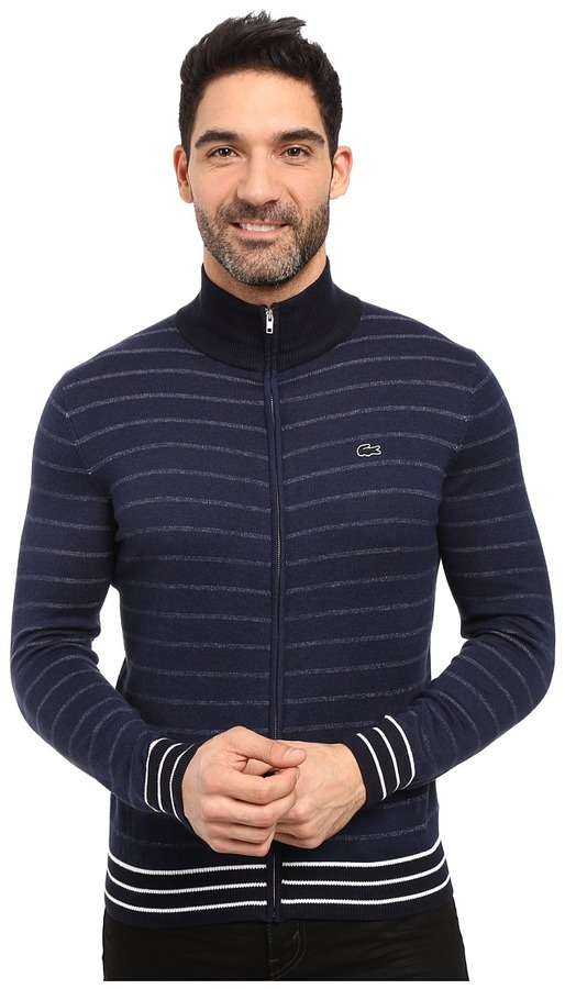 LacosteLacoste Long Sleeve Double Face Chine Stripe Zip Cardigan