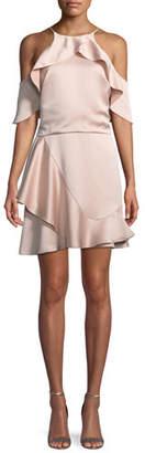 Halston Flouncy Cold-Shoulder Halter Mini Dress