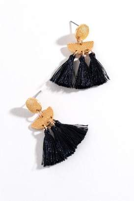 francesca's Kristina Tassel Drop Earrings - Black