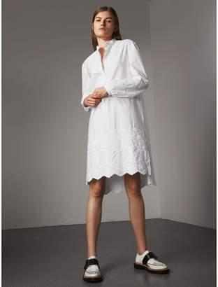 Burberry Embroidered Cotton Poplin Shirt Dress