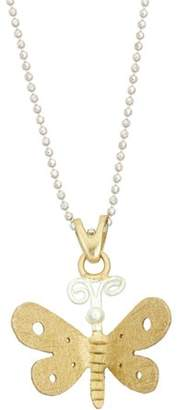 5th & Main Sterling Silver and 14kt Gold-Plated Butterfly Pendant with Chain