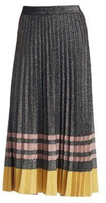 Derek Lam 10 Crosby Pleated Metallic Knit Skirt