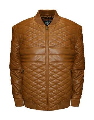 Asstd National Brand Double Diamond Leather Bomber Jacket - Big & Tall