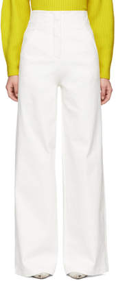 Tibi White Washed Twill Wide-Leg Trousers