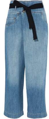 Brunello Cucinelli Belted Faded High-Rise Wide-Leg Jeans