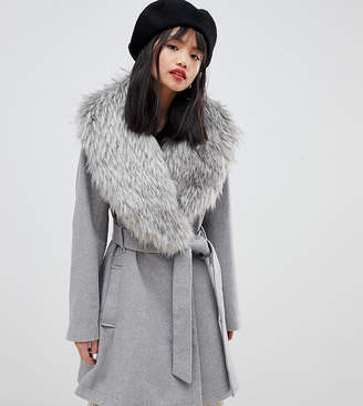 Lost Ink Petite belted coat with faux fur collar
