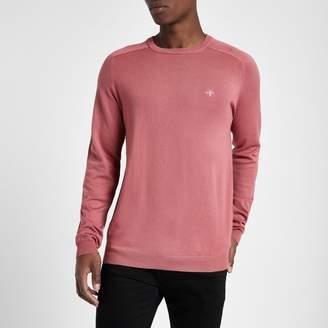 Mens Pink embroidered slim fit crew neck jumper