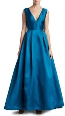 ML Monique Lhuillier Lace-Inset V-Back Ball Gown