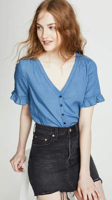 Madewell Village Ruffle Sleeve Shirt in Indigo