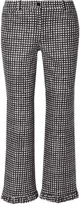 Michael Kors Ruffled Gingham Cotton-poplin Straight-leg Pants - Black